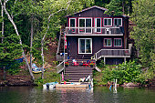 Cottage with stairs leading to the water
