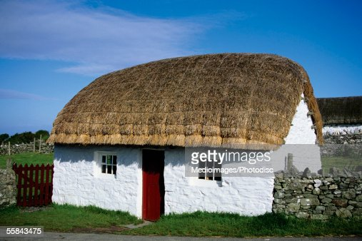 Cottage with a thatched roof, Cregnesh, Isle of Man, British Isles