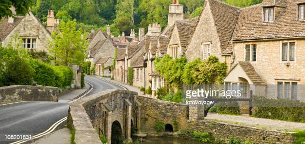 Cottages Lining Road in Green Wooded Valley
