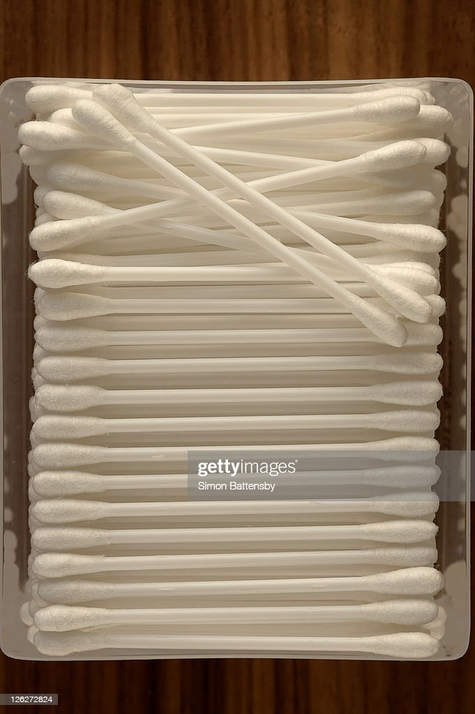 Cotton buds (cotton swabs) in box, high view point : Stock Photo