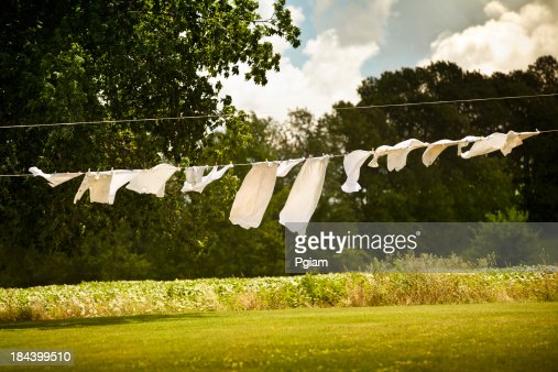 Cotton laundry hanging on a clothesline
