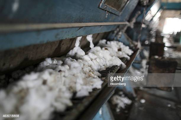 Cotton passes through a cleaning machine in the ginning mill of a factory in Yavatmal Maharashtra India on Wednesday Feb 4 2015 In a country where as...