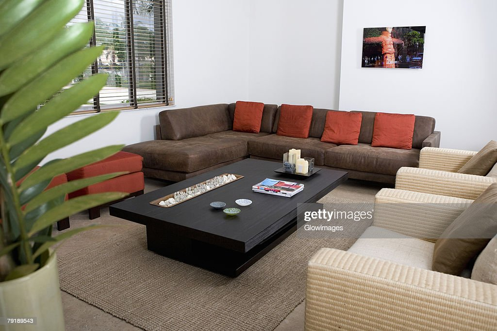 Couch and armchairs in a living room : Stock Photo