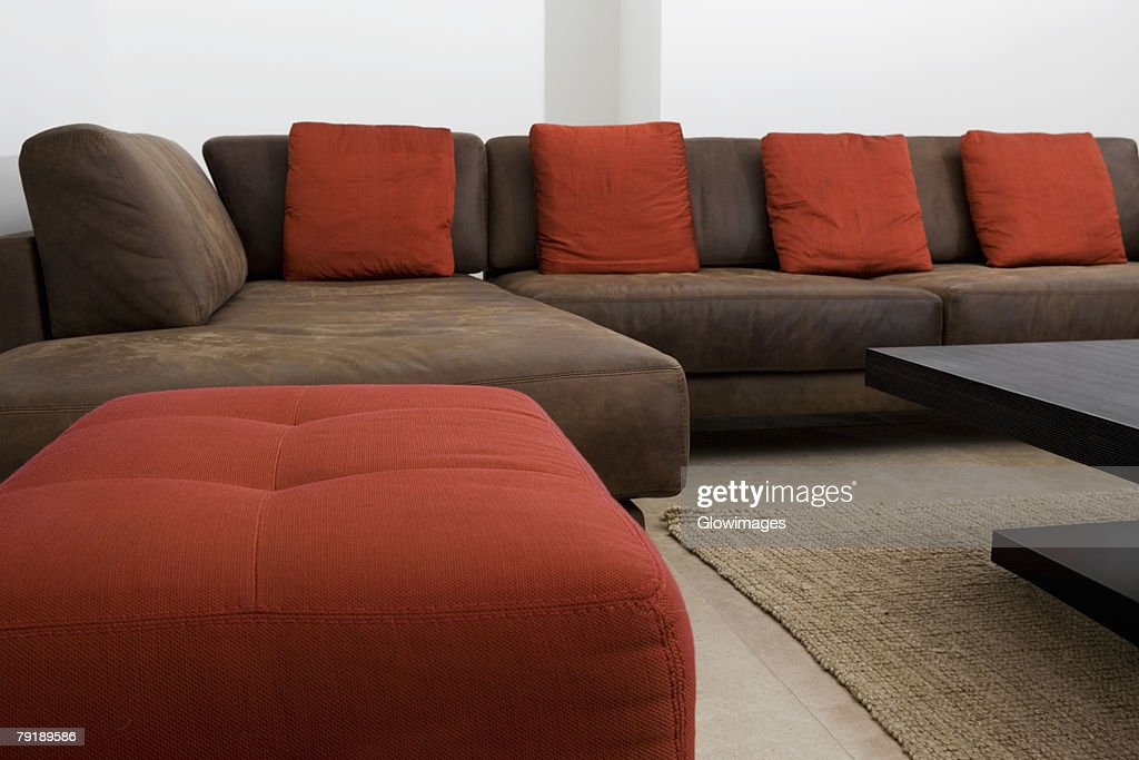 Couch and ottomans in a living room