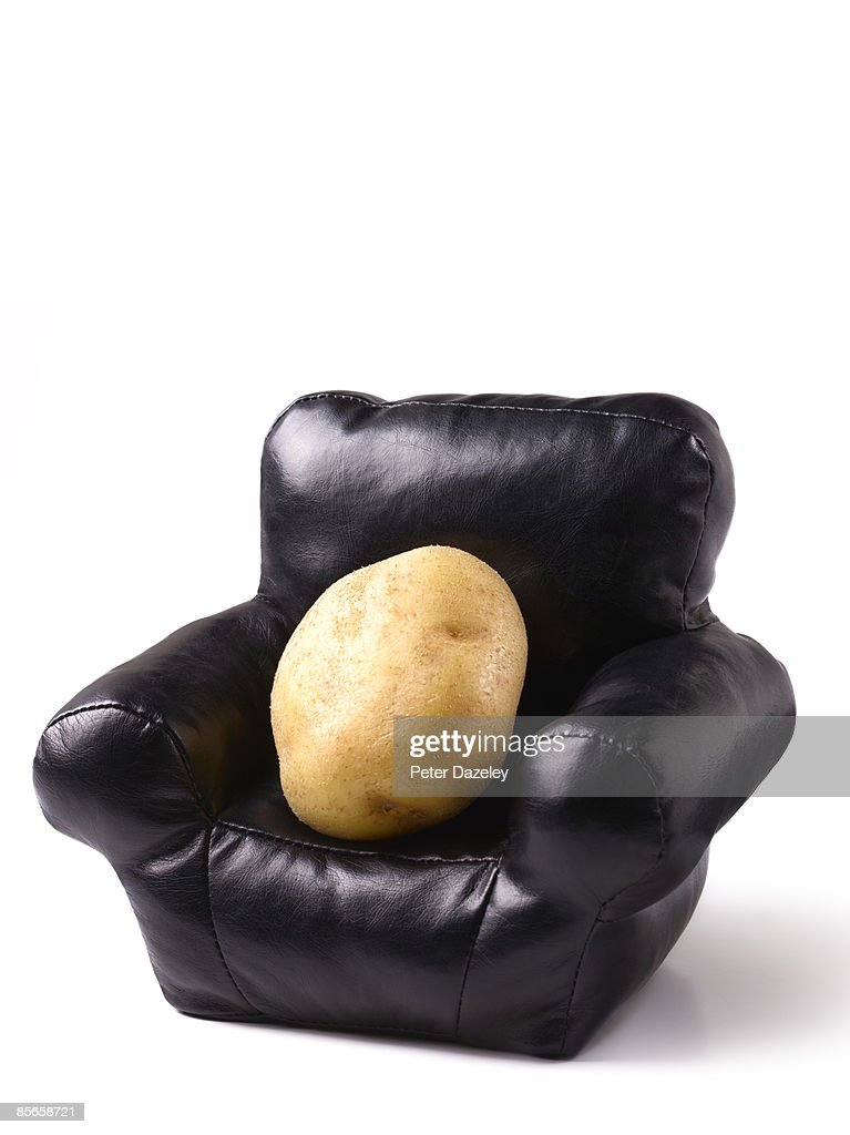 Couch potato, on white background with copy-space