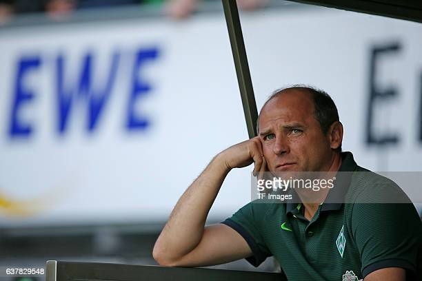 Couch Viktor Skripnik of Bremen gestures during the preseason friendly match between Werder Bremen and FC Chelsea at Weserstadion on August 7 2016 in...