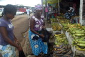 Coumba SYLLA Jacqueline Ondoung a merchant complains in Libreville on November 13 2008 'They came to break the market and collect goods' says...
