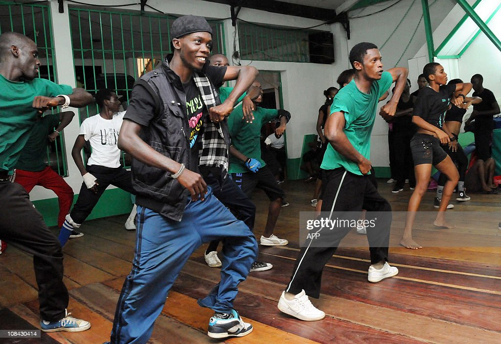 Coumba SYLLAGabonese choregraphers of afrodance group a local techno perform during a rehearsal on November 13 2010 in Libreville AFP PHOTO/ WILS...