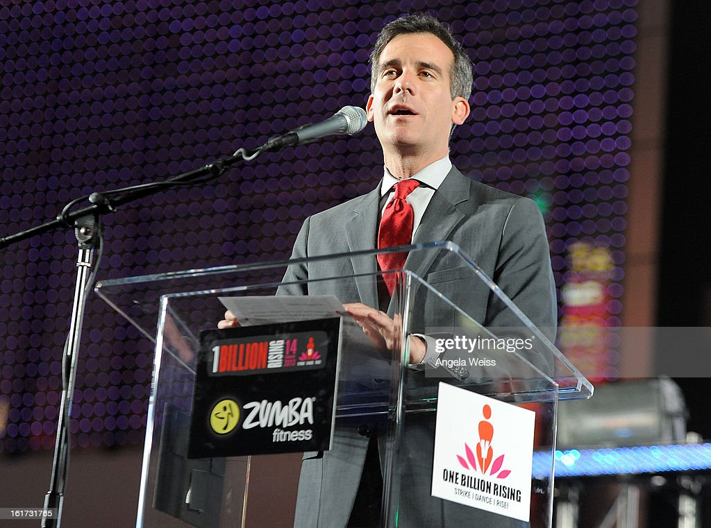 Council member <a gi-track='captionPersonalityLinkClicked' href=/galleries/search?phrase=Eric+Garcetti&family=editorial&specificpeople=635706 ng-click='$event.stopPropagation()'>Eric Garcetti</a> attends One Billion Rising-Rise with V-Day and Zumba Fitness, One Billion Rising, a Global Day of Action to End Violence against Women and celebrate V-Day's 15th Anniversary at LA Live on February 14, 2013 in Los Angeles, California.
