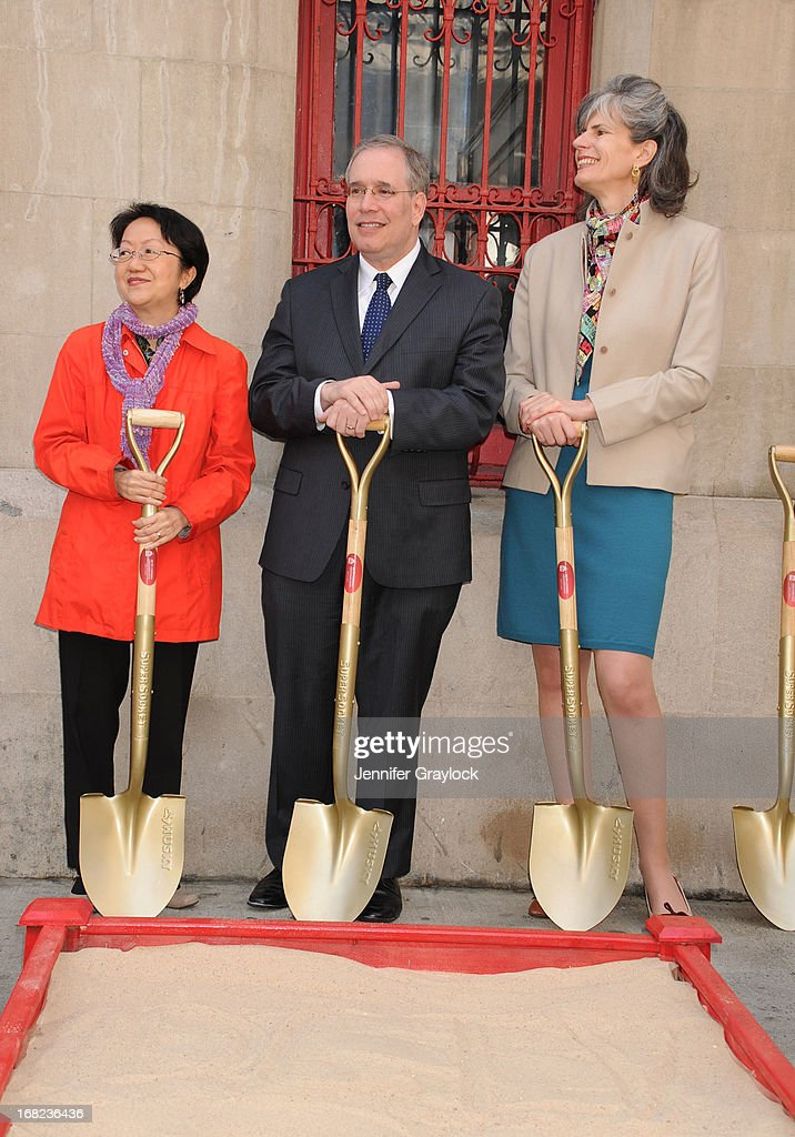 NYC Council Member Margaret Chin, Scott Stringer Manhattan Borough President and New York City Councilwoman Kate Levin attend The DCTV Cinema Groundbreaking Ceremony at DCTV on May 7, 2013 in New York City.