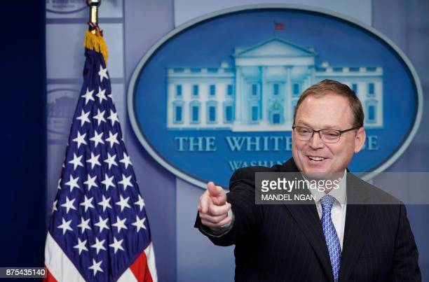 Council of Economic Advisers Chair Kevin Hassett speaks during the daily briefing in the Brady Briefing Room of the White House on on November 17...