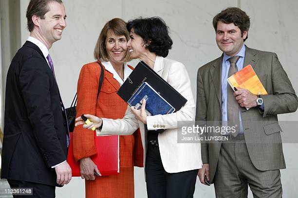 Council Of Ministers At The Elysee Palace In Paris France On June 13 2007 David Martinon Christine Albanel Rachida Dati Franck Louvrier