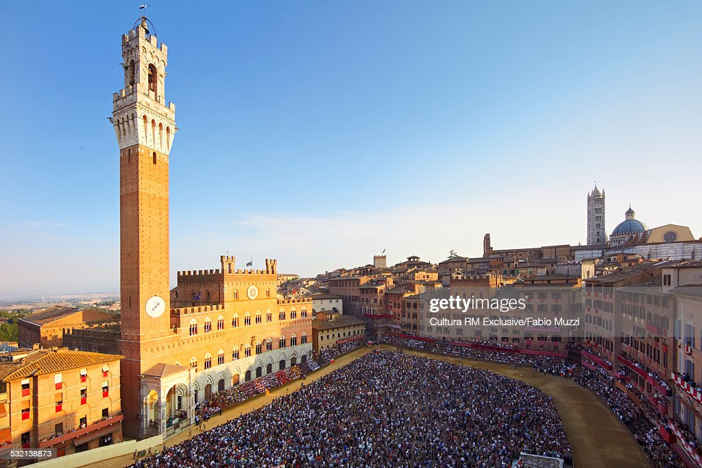 Council of Siena, Piazza del Campo during horse race of Palio, Siena,Tuscany, Italy
