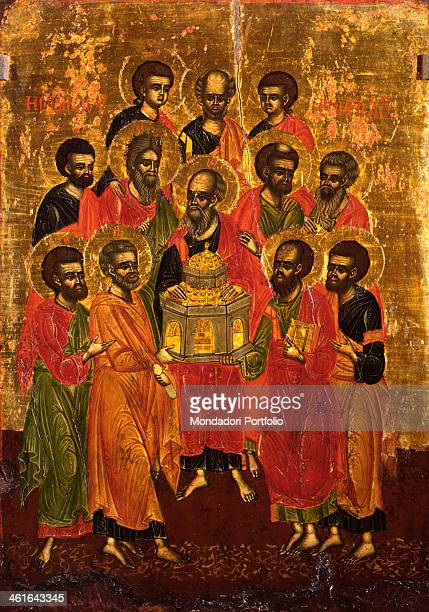 Council of the Holy Apostles by Kostantin Jeromonaku tempera on wood 17th Century Albania Tirana Institute for Cultural Monuments Whole artwork view...