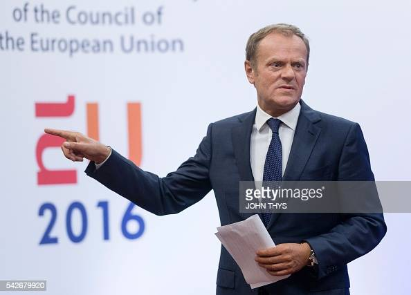 EU Council President Donald Tusk leaves after a statement on Brexit at the EU Headquarters in Brussels on June 24 2016 Britain has voted to break out...
