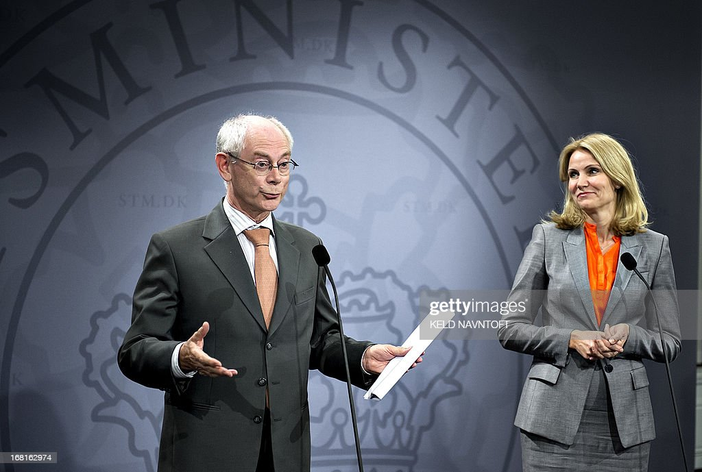 EU Council president Herman Van Rompuy (L) and Danish Prime Minister Helle Thorning-Schmidt (R) give a press conference at the Prime Ministers office in Copenhagen on May 6, 2013.