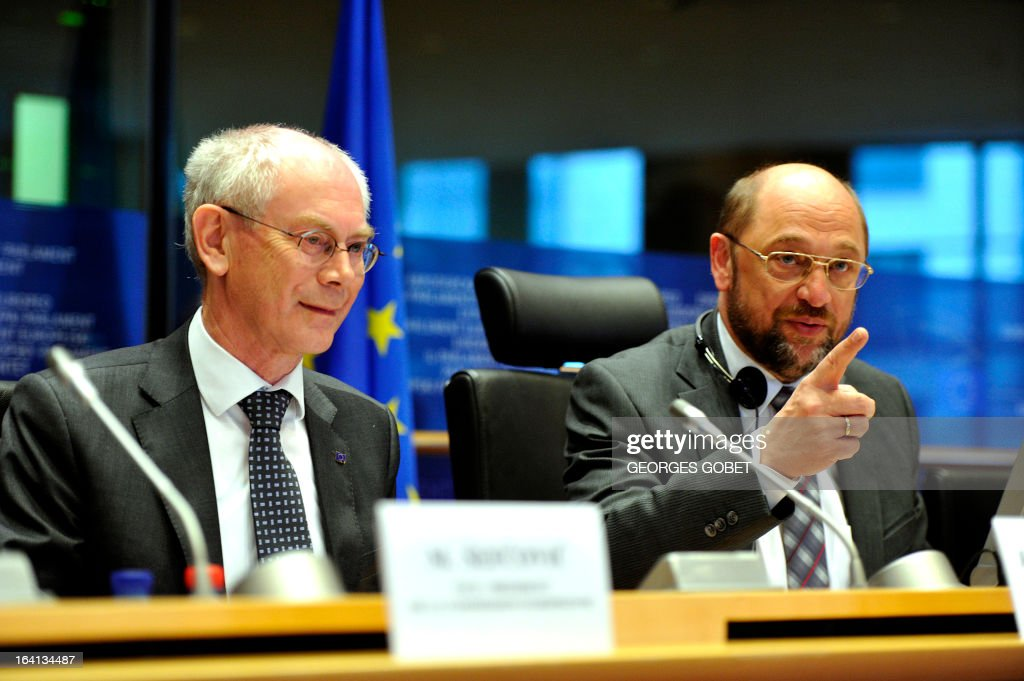 EU Council president Herman Van Rompuy and European Parliament President Martin Schulz give a statement on March 20, 2013 during a meeting with members of EU Parliament for the report of the last European Council at the EU Headquarters in Brussels. Parliament hosts a post-summit debate on EU economic policy with EP President Martin Schulz, political group leaders, European Council President Van Rompuy and Commission President Barroso. The EU's long-term budget is also likely to feature, ahead of negotiations to take place between Parliament and Council.