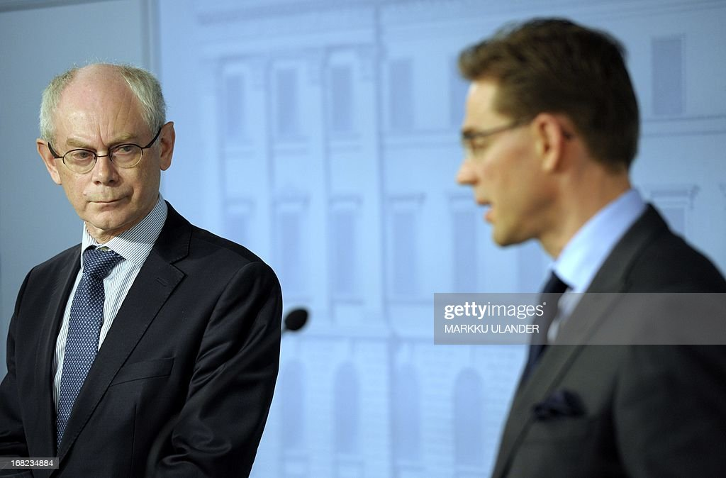 EU Council President Herman Van Rompuy (L) and Finnish Prime Minister Jyrki Katainen attend a press conference on May 7, 2013 in Helsinki, Finland. AFP PHOTO /LEHTIKUVA / Markku Ulander FINLAND OUT