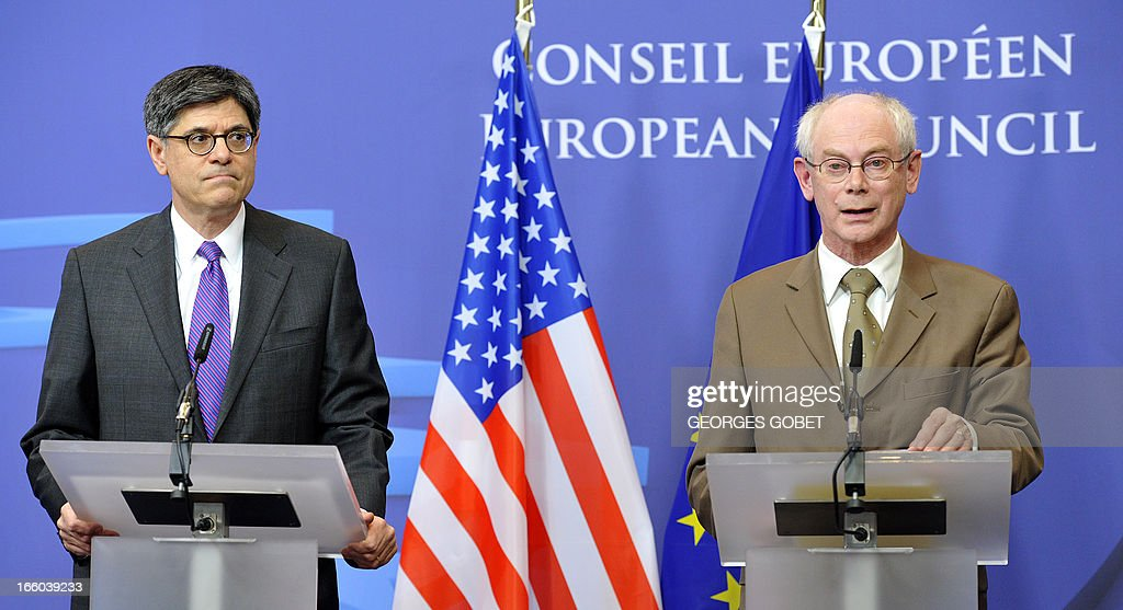 EU Council president Herman Van Rompuy (R) and US States Secretary of Treasury Jack Lew (L) give a press conference following a working session on April 8, 2013 at the EU Headquarters in Brussels. AFP PHOTO GEORGES GOBET