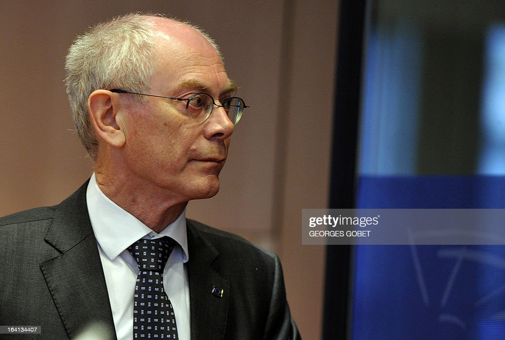 EU Council president Herman Van Rompuy arrives on March 20, 2013 for a meeting with members of EU Parliament for the report of the last European Council at the EU Headquarters in Brussels. Parliament hosts a post-summit debate on EU economic policy with EP President Martin Schulz, political group leaders, European Council President Van Rompuy and Commission President Barroso. The EU's long-term budget is also likely to feature, ahead of negotiations to take place between Parliament and Council.