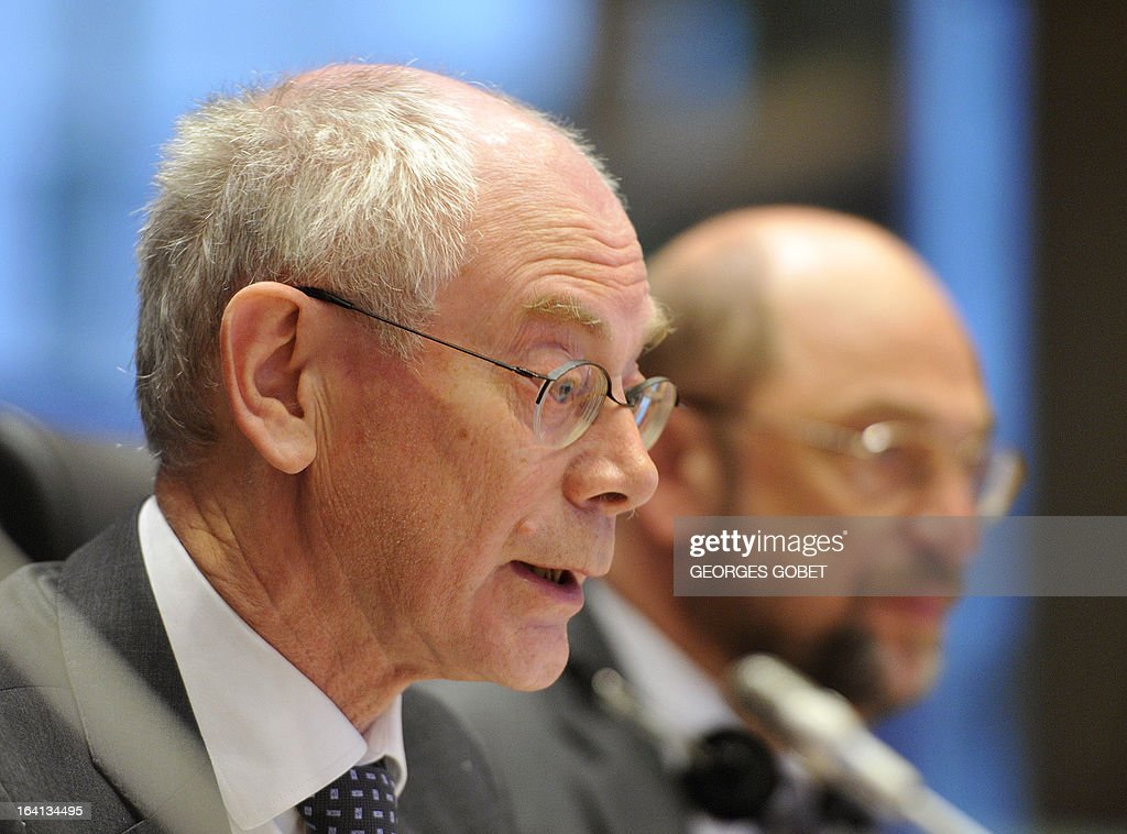 EU Council president Herman Van Rompuy gives a statement on March 20, 2013 during a meeting with members of EU Parliament for the report of the last European Council at the EU Headquarters in Brussels. Parliament hosts a post-summit debate on EU economic policy with EP President Martin Schulz, political group leaders, European Council President Van Rompuy and Commission President Barroso. The EU's long-term budget is also likely to feature, ahead of negotiations to take place between Parliament and Council.