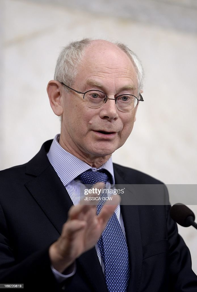 EU Council President Herman Van Rompuy speaks during a press conference at Rosenbad in Stockholm, on May 7, 2013, as he met with Sweden's Prime minister.