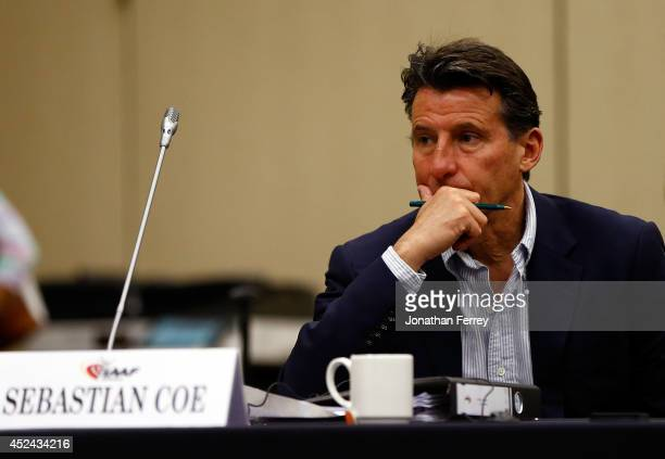 Council Vice President Sebastian Coe listens during day 1 of the 196th IAAF Council Meeting on July 20 2014 at the Valley River Inn in Eugene Oregon