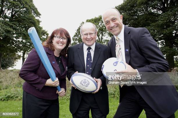 Councillor Deidre Brock Culture and Sport Convenor for the City of Edinburgh Council Malcolm Gillies of Lismore RFC and IPCSC with Stewart Harris CEO...