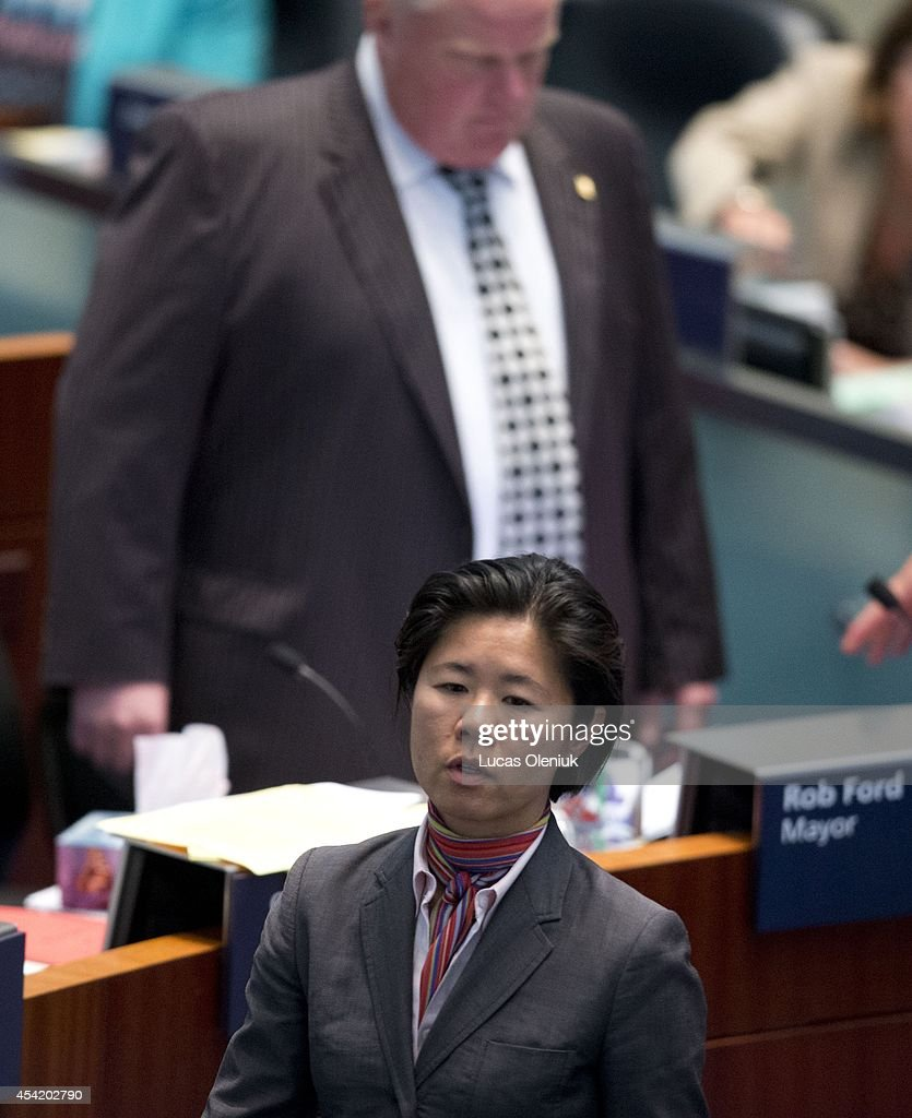 Councillor Kristyn Wong-Tam wore pink to council chambers Monday morning in protest of Mayor Ford's tenure. Toronto City Hall saw a boost of colour on Monday after a group of councillors wore pink to celebrate their last council session before the election and to protest against Rob Fords performance as mayor. August 25, 2014.