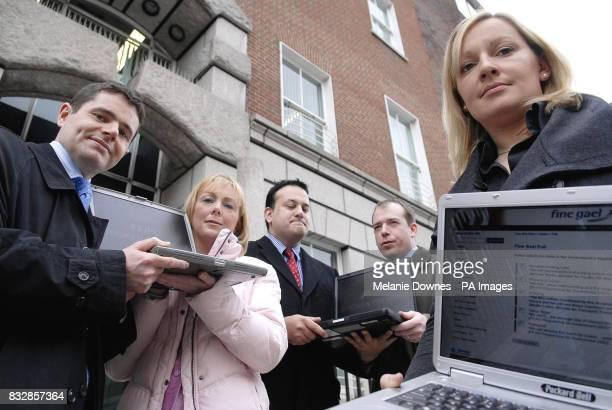 Councillor Paschal Donohoe Regina Doherty Councillor Leo Varadkar Councillor Darren Scully and Councillor Lucinda Creighton launch Fine Gael's Broken...