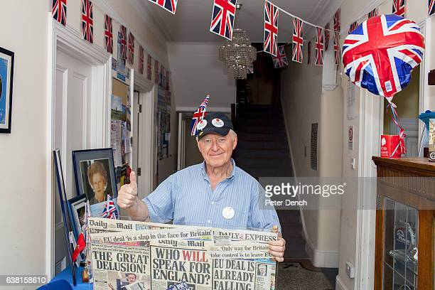 Councillor Ray Best an Out campaigner at Margaret Thatcher House in the town of Romford constituency address of Andrew Rosindell MP who would like...