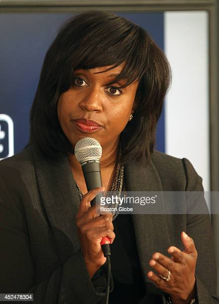 Councilor AtLarge Ayanna Pressley debates with candidates for Boston City Council in the Boston Globe Media Lab Tuesday afternoon