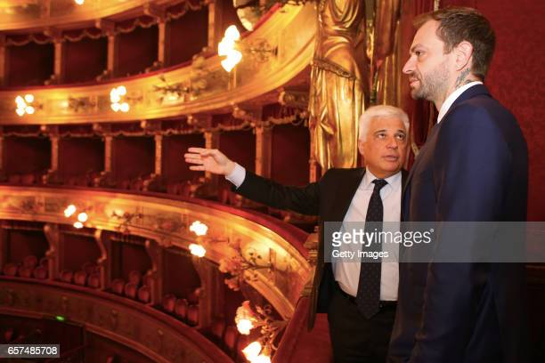 Councilor of Culture at Municipality of Palermo Francesco Giambrone and US Citta di Palermo new president Paul Baccaglini attends a visit to Teatro...