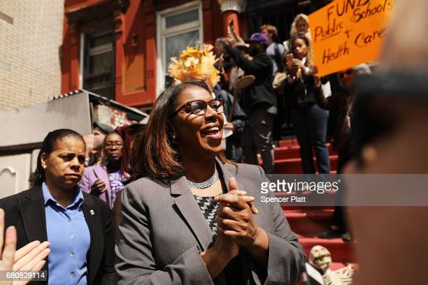 Councilwoman and Public AdvocateElect Letitia James joins dozens of healthcare activists protesting in front of a Harlem charter school before the...