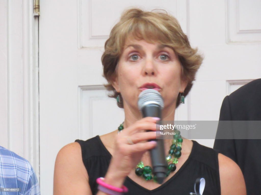 """Councilwoman Lisa Swain speaks during a Rally for Unity and Peace with Mayor, Councilwoman, full Borough Council and religious leaders in Fair Lawn, NJ on August 20, 2017. Councilwoman Lisa Swain says """"The President has failed to lead and comfort the nation in a time of tragedy"""""""
