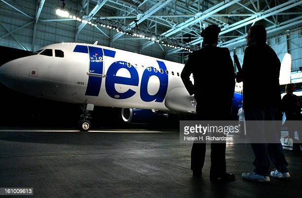 AIRPORT COUnited Airlines <cq> unveiled their new low cost airline Ted <cq> They unveiled the A320 Airbus <cq> plane at United's maintenance hanger...