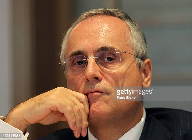 Counsellor Claudio Lotito attends a press conference after the Federal Council of the Italian Football Federation meeting on September 12 2014 in...