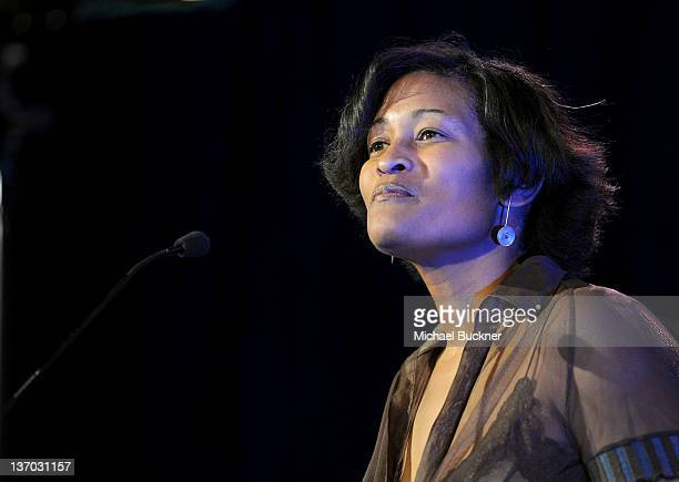 Counselor and Chief of Staff to Hillary Clinton Cheryl Mills speaks onstage at the Cinema For Peace event benefitting J/P Haitian Relief Organization...