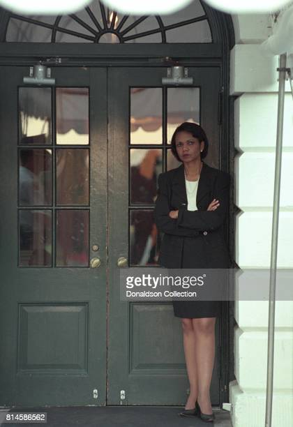 Counselor Karen Hughes and Counsel Alberto Gonzales wait on the Colonnade for President George W Bush to arrive at the White House Tuesday Sept 11...