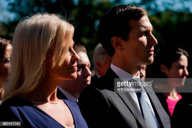Counselor to the President Kellyanne Conway and Senior White House Adviser Jared Kushner listen to the US President and Greece's Prime Minister...