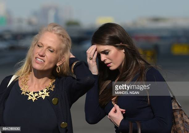 Counselor to the president Kellyanne Conway and White House Director of Strategic Communications Hope Hicks are seen on the tarmac of Newark Liberty...