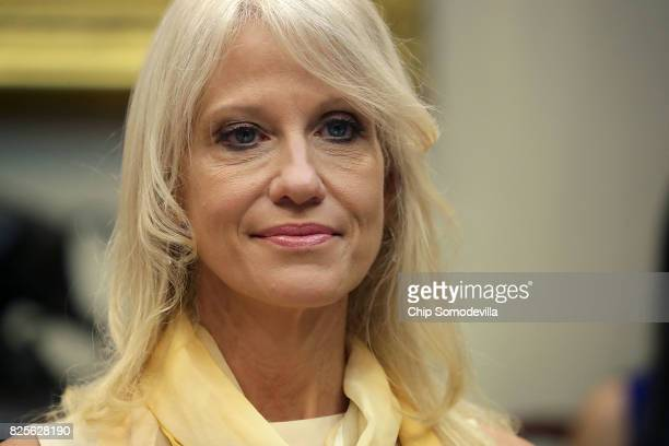 Counselor to the President Kellyanne Conway hosts a listening session with military spouses in the Rooselvelt Room at the White House August 2 2017...
