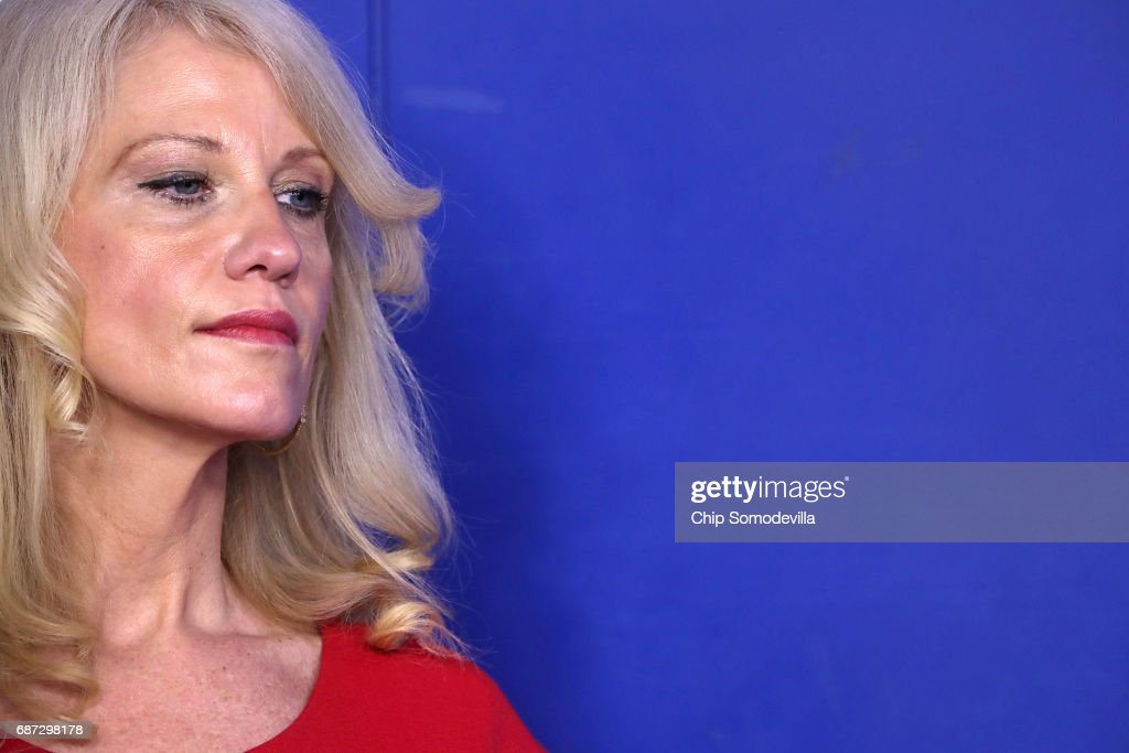 Counselor to the President Kellyanne Conway listens to Office of Management and Budget Director Mick Mulvaney during a news conference to discuss the Trump Administration's proposed FY2017 federal budget in the Brady Press Briefing Room at the White House May 23, 2017 in Washington, DC. Calling it a 'New Foundation for American Greatness,' the $4.1 trillion budget for would cut programs for the poor, including health care, food stamps, student loans and disability payments while offering big tax cuts for the wealthy.