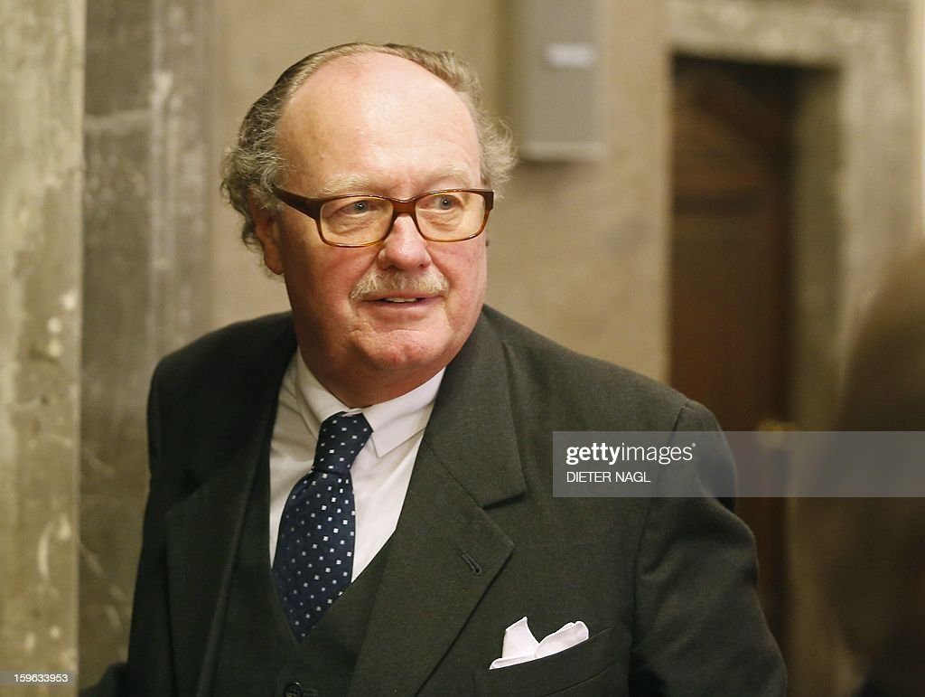 Count Alfons Mensdorff-Pouilly leaves the courtroom after his trial on January 17, 2013 in Vienna. Mensdorff-Pouilly is suspected of bribery and money laundering while working for the British aerospace giant BAE Systems.