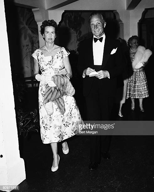 Count and Countess Kurt Haugwitz Reventlow at the Palm Beach Playhouse Palm Beach Florida c1957