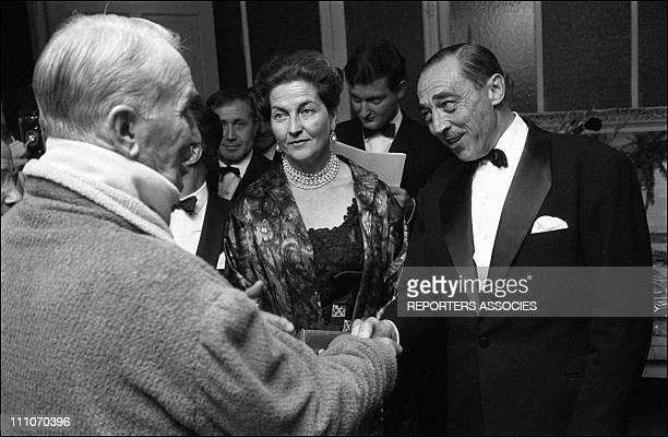 Count and Countess of Paris with Maurice Chevalier at the Olympia in Paris France on Octorber 01 1963