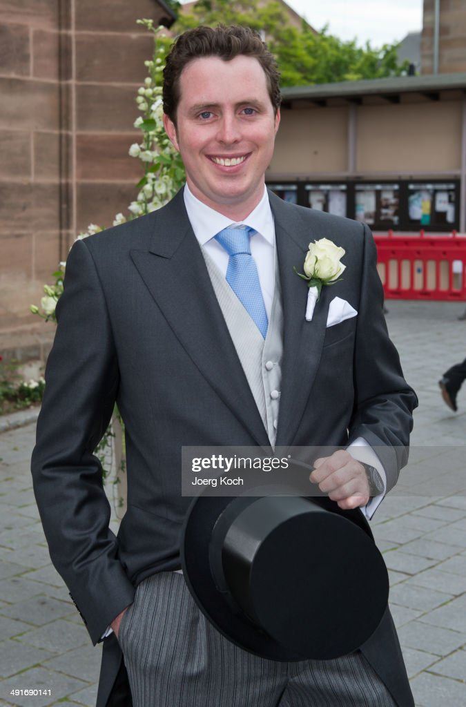 Count Anton Andreas von Faber-Castell poses in front of Martin-Luther-Church before his wedding on May 17, 2014 in Stein near Nuremberg, Germany.