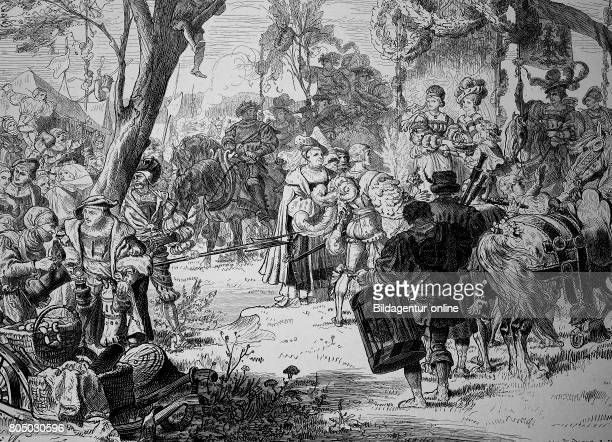 Count at summer freshness and picnic in the Middle Ages historical illustration
