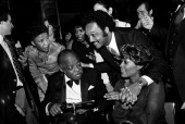Count Basie with Jesse Jackson and Dionne Warwick at an allstar tribute concert honouring Count Basie called 'To Basie With Love' at Radio City Music...