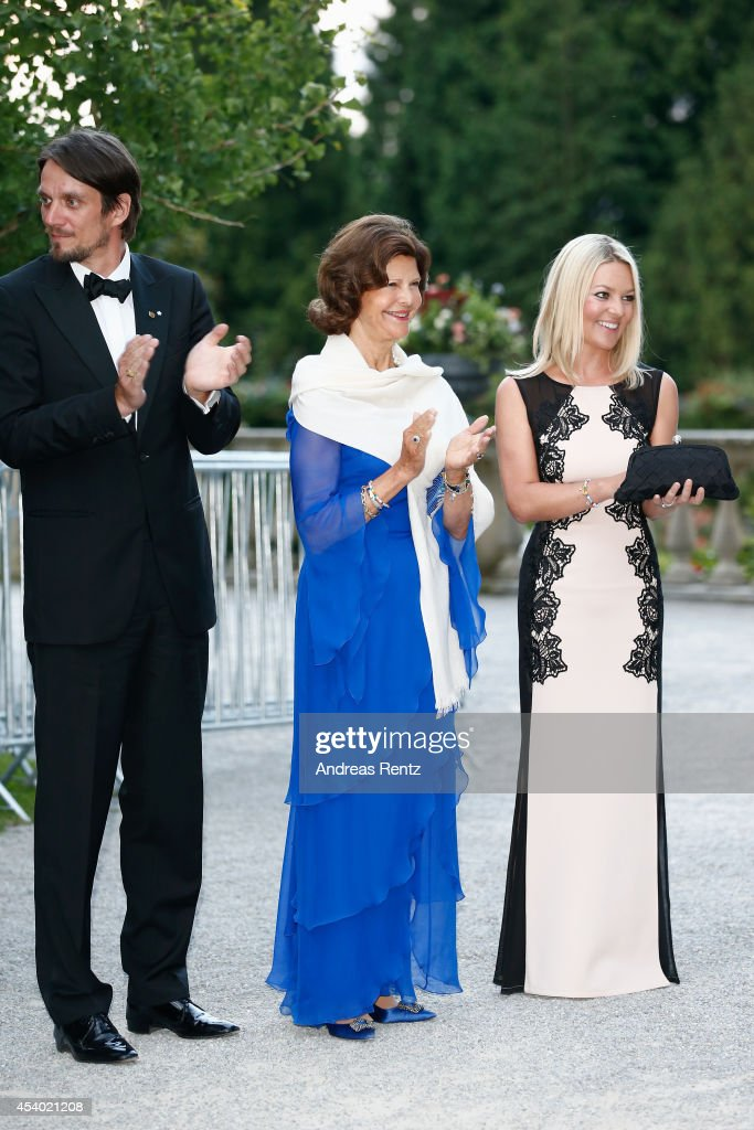 Count Bjoern Bernadotte, HRH Queen Silvia of Sweden and Countess Sandra Bernadotte attend the 5th Lindau meeting on Economic Scienes an event in connection with the 15th anniversary of World Childhood Foundation at Island Mainau on August 23, 2014 in Konstanz, Germany.